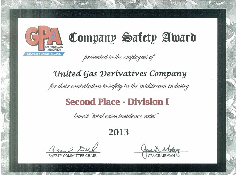 GPA 2013 2nd Place Division I