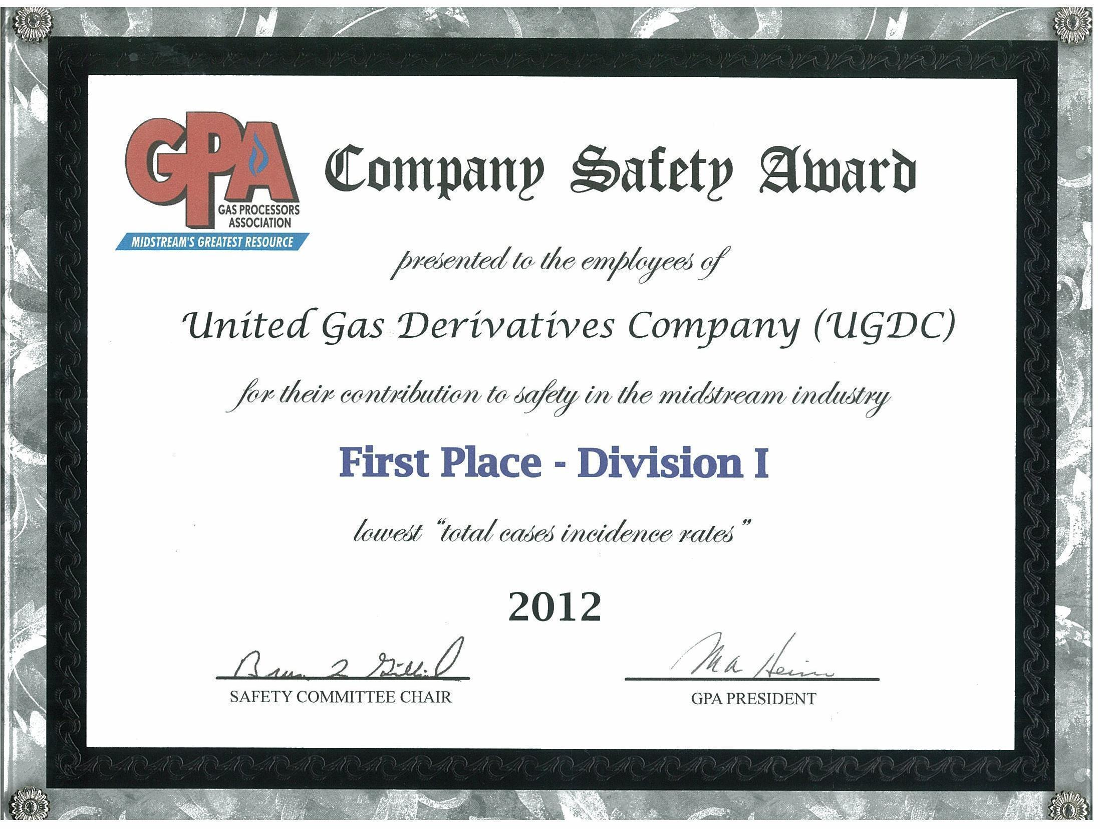 GPA 2012 First Place Division I